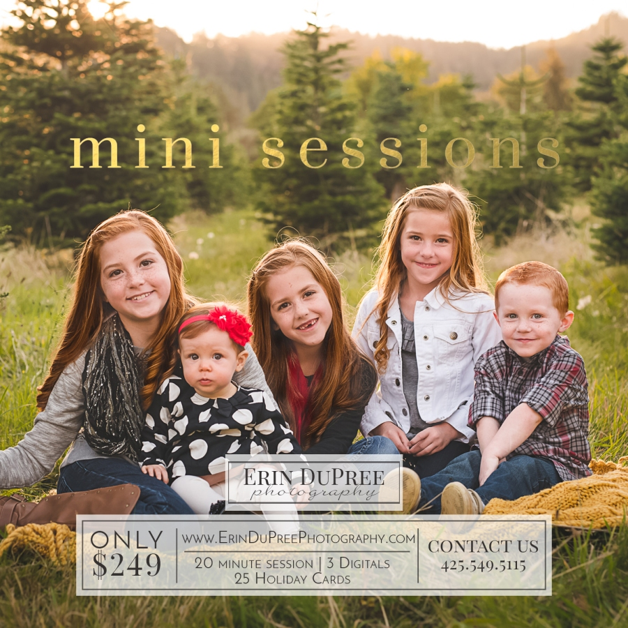 Holiday family photo of children near Issaquah, WA by a Seattle Family Photographer