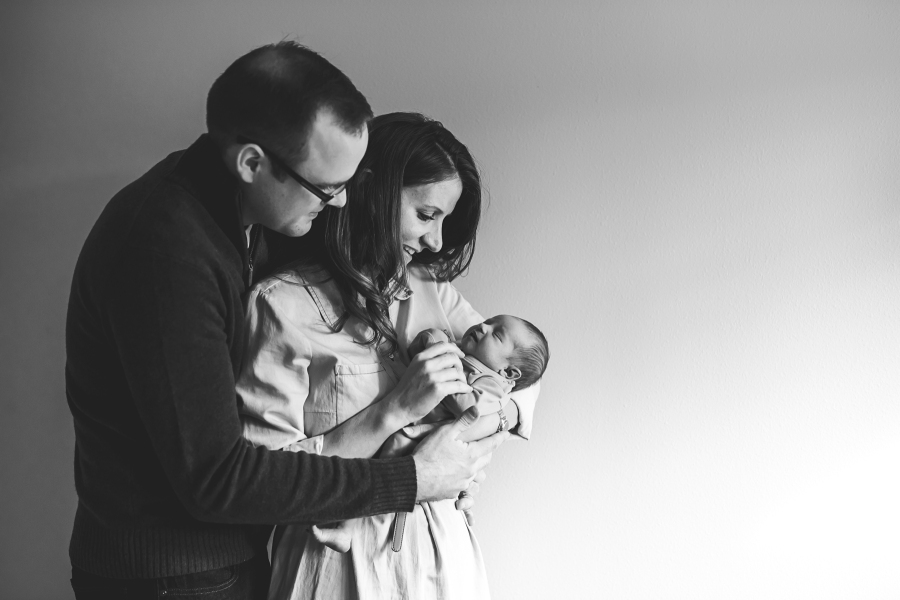 Mother, father, and baby in black and white by Erin DuPree Photography a Seattle Newborn Photographer