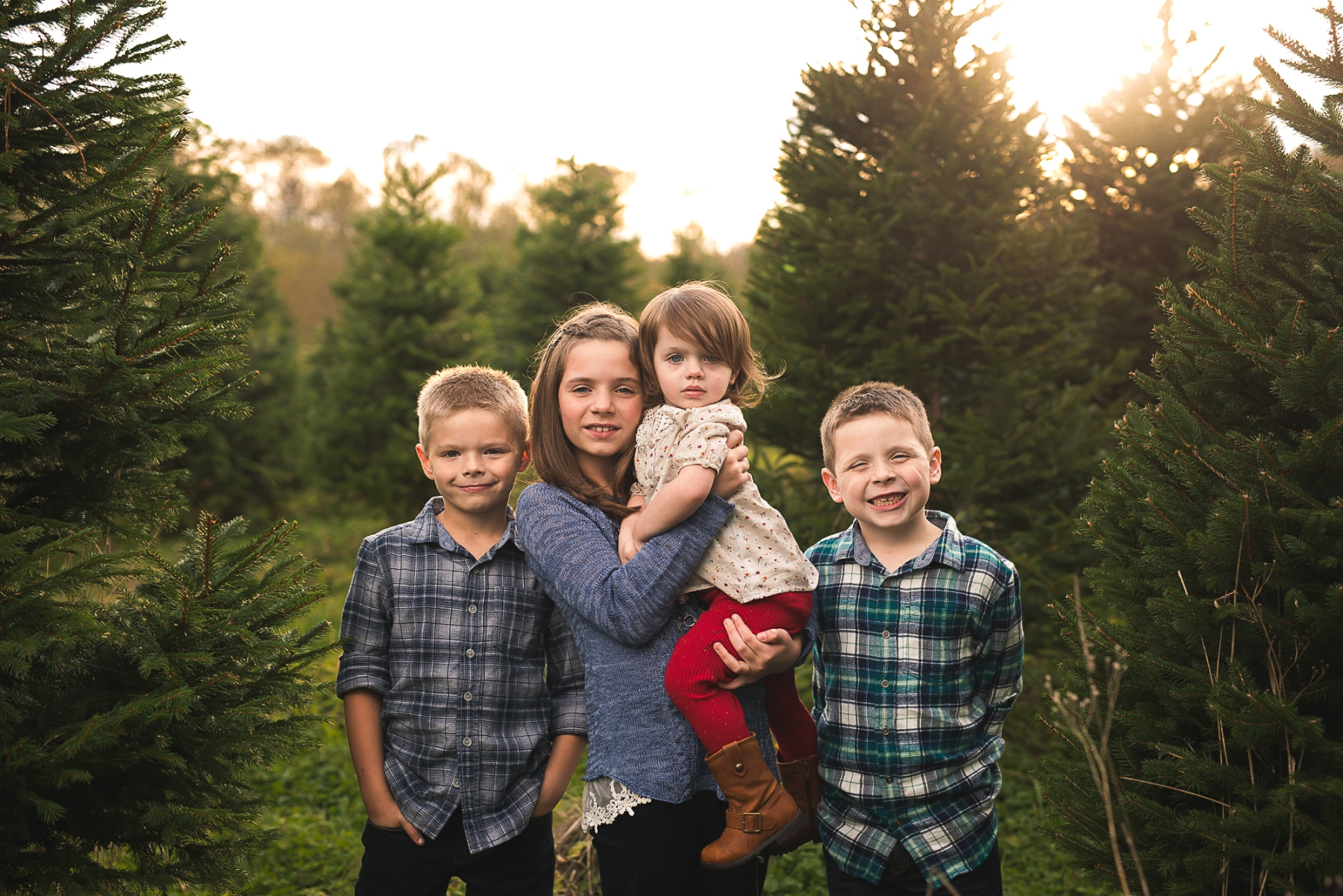 Children in Christmas tree farm in Redmond Wa by Seattle Family Photographer